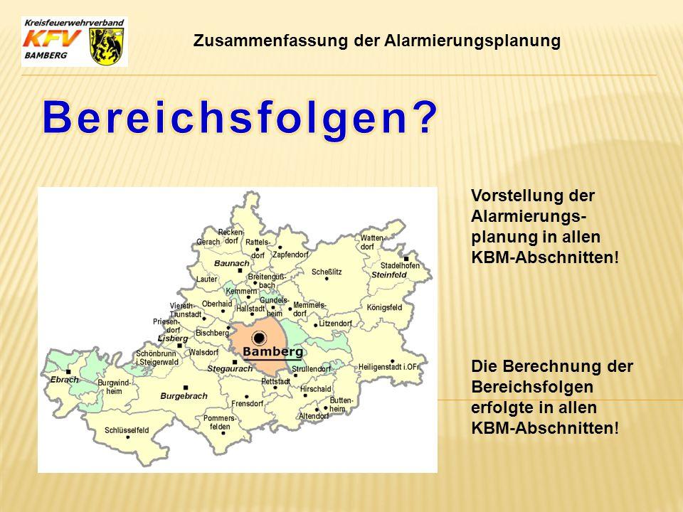 Zusammenfassung der Alarmierungsplanung Die Berechnung der Bereichsfolgen erfolgte in allen KBM-Abschnitten! Vorstellung der Alarmierungs- planung in