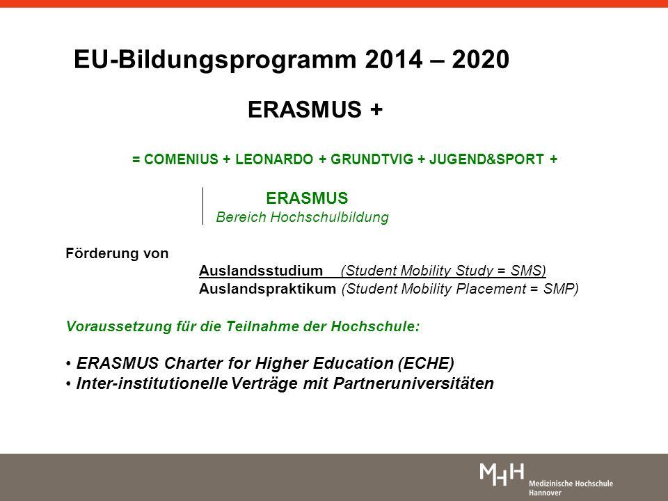 EU-Bildungsprogramm 2014 – 2020 ERASMUS + = COMENIUS + LEONARDO + GRUNDTVIG + JUGEND&SPORT + ERASMUS Bereich Hochschulbildung Förderung von Auslandsst