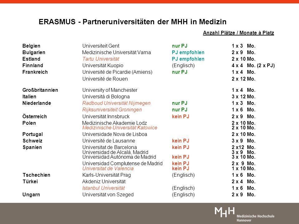 ERASMUS - Partneruniversitäten der MHH in Medizin Anzahl Plätze / Monate à Platz Belgien Universiteit Gent nur PJ1 x 3 Mo. BulgarienMedizinische Unive