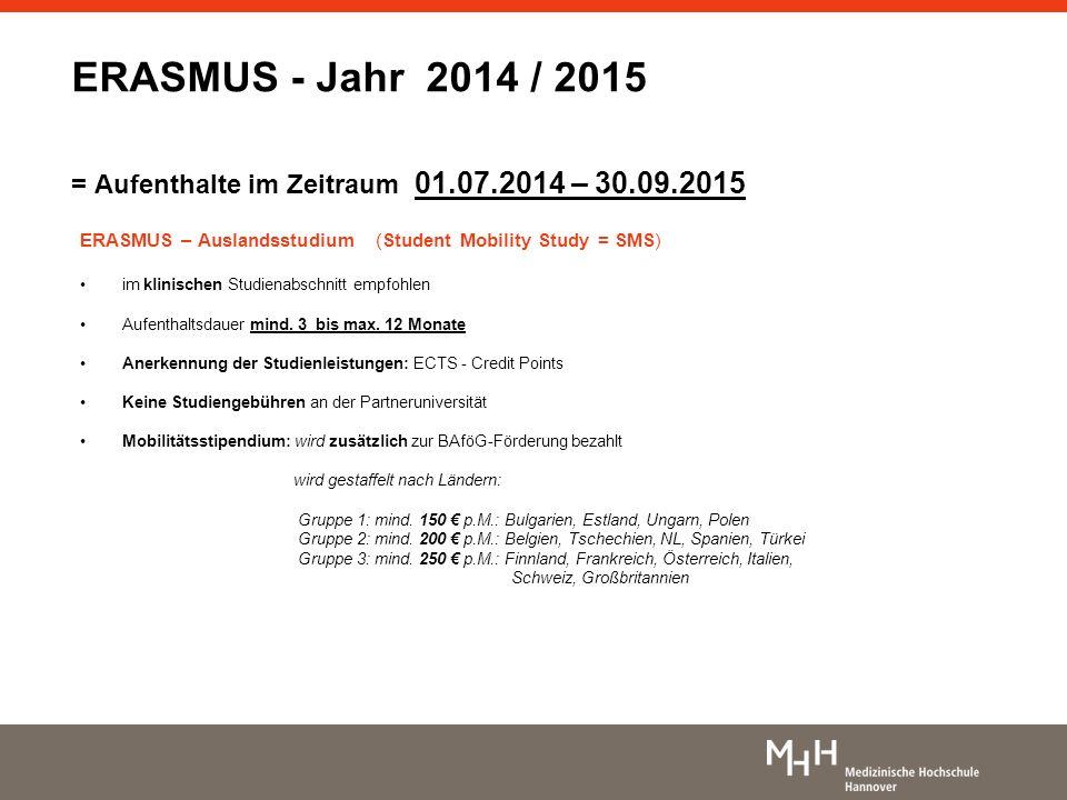 ERASMUS – Auslandsstudium (Student Mobility Study = SMS) im klinischen Studienabschnitt empfohlen Aufenthaltsdauer mind. 3 bis max. 12 Monate Anerkenn