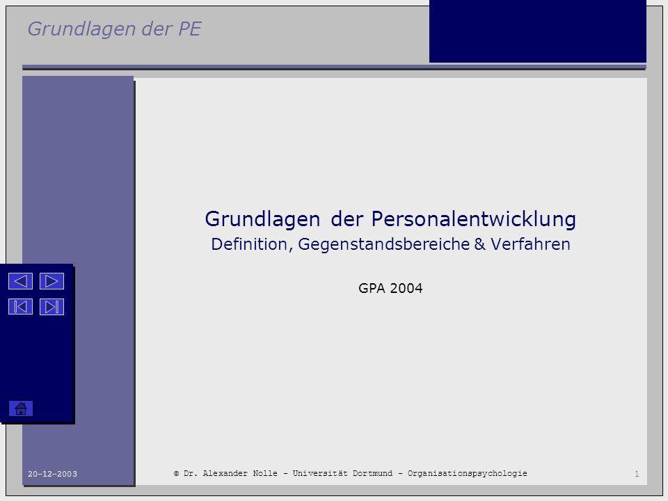 Grundlagen der PE © Dr. Alexander Nolle - Universität Dortmund - Organisationspsychologie 20-12-20031 Grundlagen der Personalentwicklung Definition, G