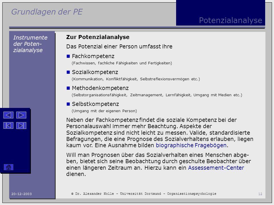 Grundlagen der PE © Dr. Alexander Nolle - Universität Dortmund - Organisationspsychologie 20-12-200312 Potenzialanalyse Instrumente der Poten- zialana
