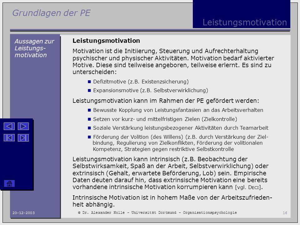 Grundlagen der PE © Dr. Alexander Nolle - Universität Dortmund - Organisationspsychologie 20-12-200316 Leistungsmotivation Aussagen zur Leistungs- mot