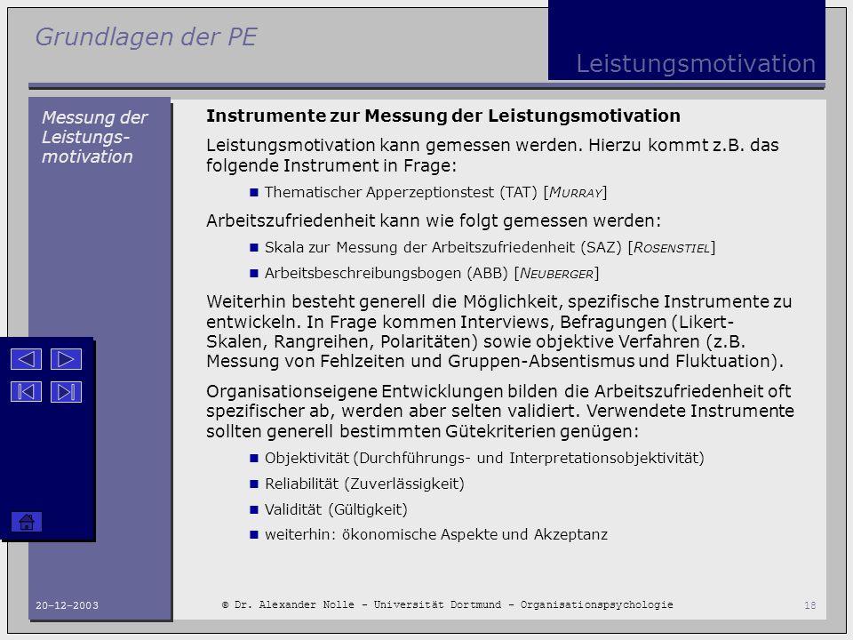 Grundlagen der PE © Dr. Alexander Nolle - Universität Dortmund - Organisationspsychologie 20-12-200318 Leistungsmotivation Messung der Leistungs- moti
