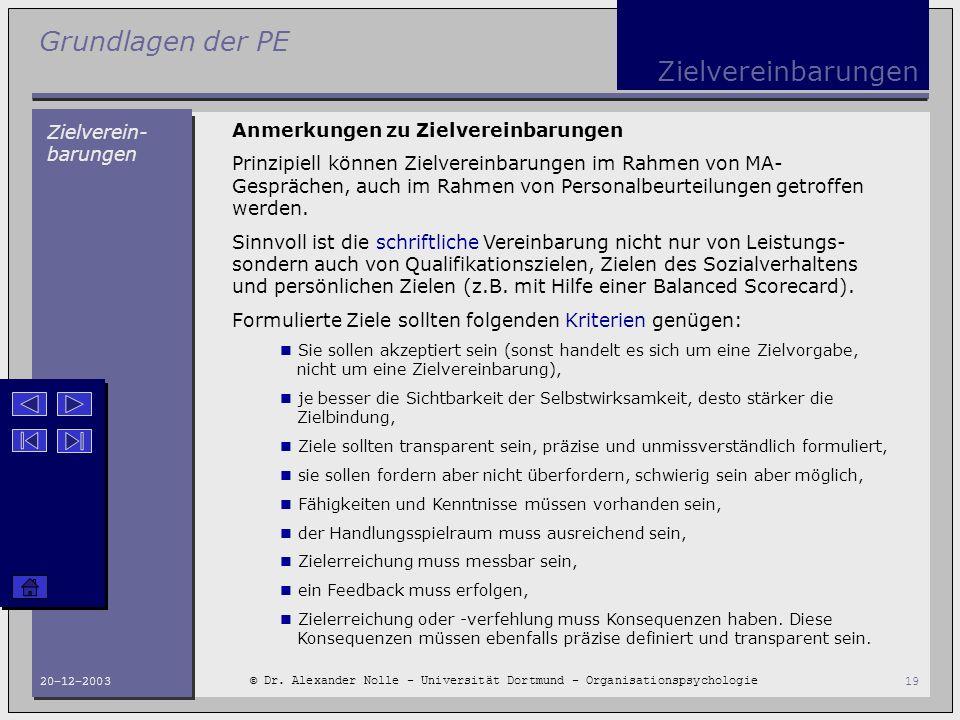 Grundlagen der PE © Dr. Alexander Nolle - Universität Dortmund - Organisationspsychologie 20-12-200319 Zielvereinbarungen Zielverein- barungen Anmerku