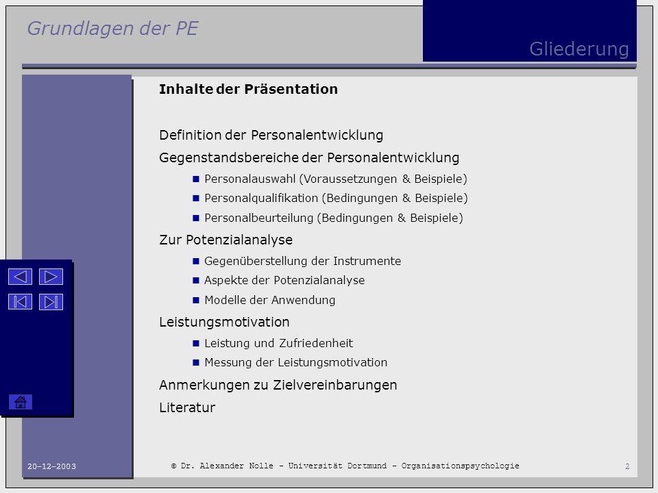 Grundlagen der PE © Dr. Alexander Nolle - Universität Dortmund - Organisationspsychologie 20-12-20032 Gliederung Inhalte der Präsentation Definition d