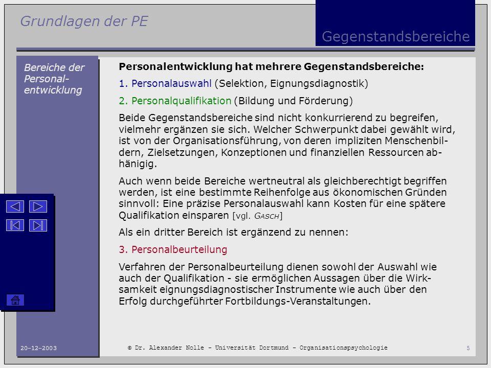 Grundlagen der PE © Dr. Alexander Nolle - Universität Dortmund - Organisationspsychologie 20-12-20035 Gegenstandsbereiche Bereiche der Personal- entwi
