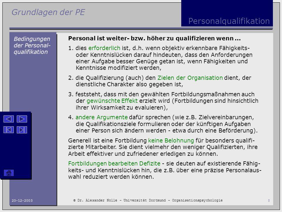 Grundlagen der PE © Dr. Alexander Nolle - Universität Dortmund - Organisationspsychologie 20-12-20038 Personalqualifikation Bedingungen der Personal-