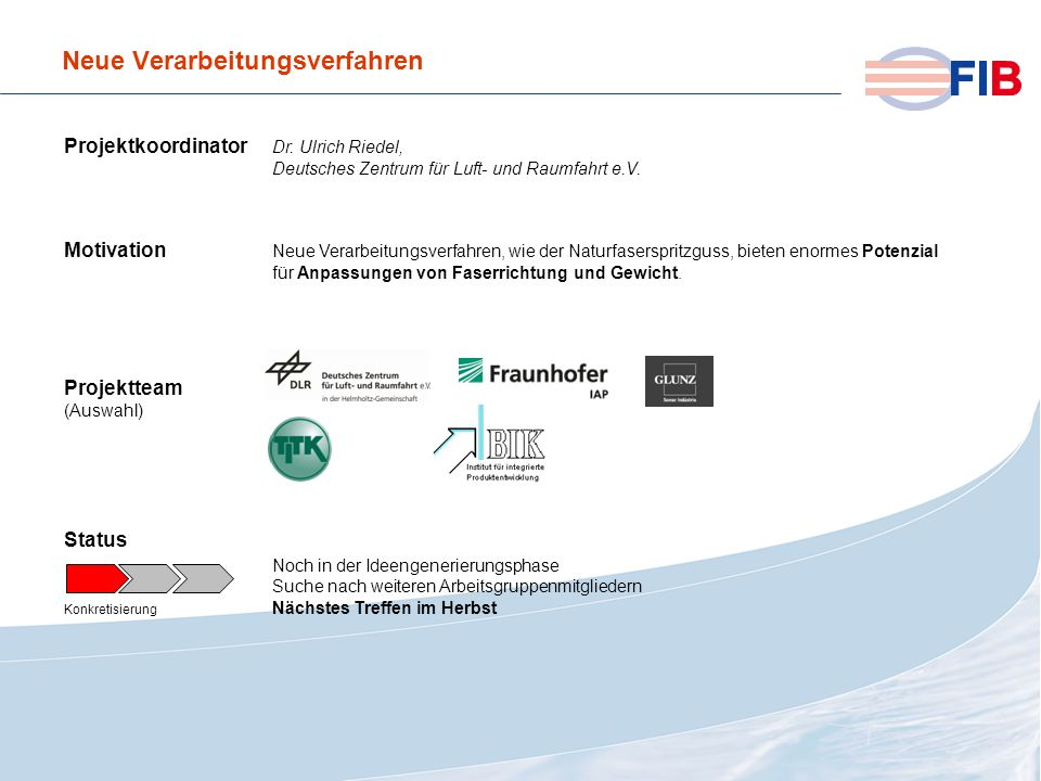 © 2008 Fiber International BremenAktivitäten 2008 im Überblick Neue Verarbeitungsverfahren Projektkoordinator Dr. Ulrich Riedel, Deutsches Zentrum für