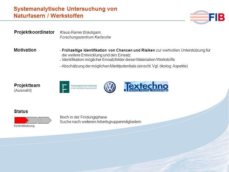 © 2008 Fiber International BremenAktivitäten 2008 im Überblick Systemanalytische Untersuchung von Naturfasern / Werkstoffen Projektkoordinator Klaus-R