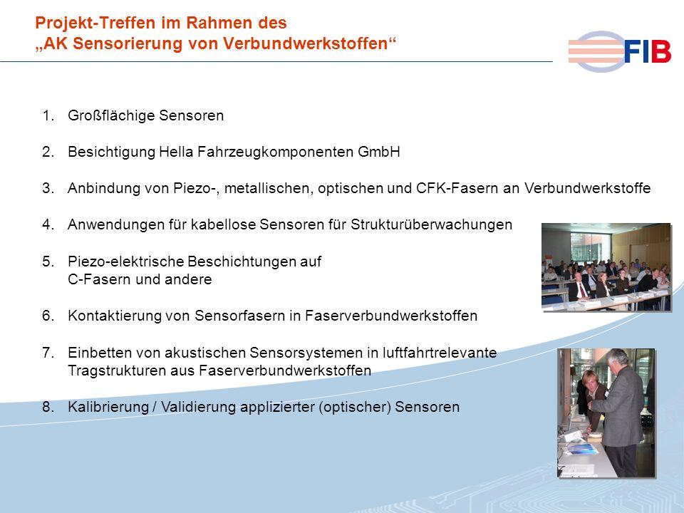 © 2008 Fiber International BremenAktivitäten 2008 im Überblick Projekt-Treffen im Rahmen des AK Sensorierung von Verbundwerkstoffen 1.Großflächige Sen