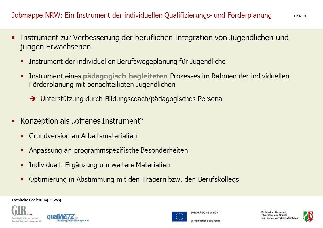 Fachliche Begleitung 3. Weg Folie 18 Jobmappe NRW: Ein Instrument der individuellen Qualifizierungs- und Förderplanung Instrument zur Verbesserung der