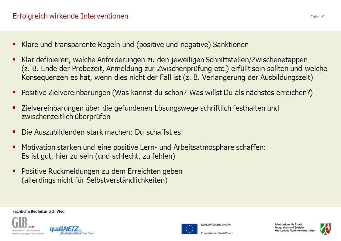 Fachliche Begleitung 3. Weg Folie 19 Erfolgreich wirkende Interventionen Klare und transparente Regeln und (positive und negative) Sanktionen Klar def