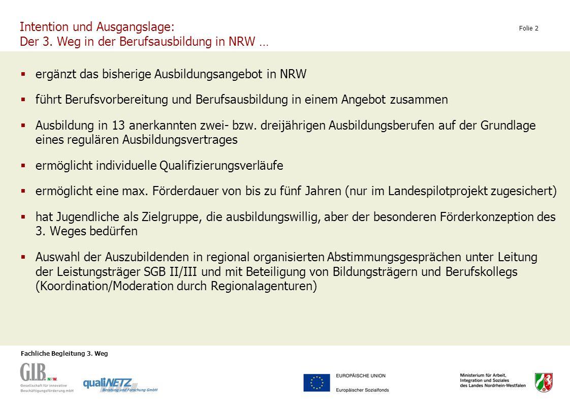 Fachliche Begleitung 3. Weg Folie 2 ergänzt das bisherige Ausbildungsangebot in NRW führt Berufsvorbereitung und Berufsausbildung in einem Angebot zus