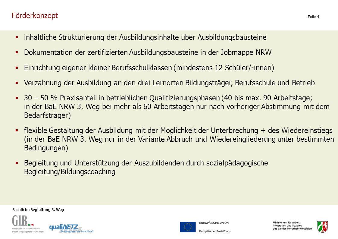 Fachliche Begleitung 3. Weg Folie 4 inhaltliche Strukturierung der Ausbildungsinhalte über Ausbildungsbausteine Dokumentation der zertifizierten Ausbi