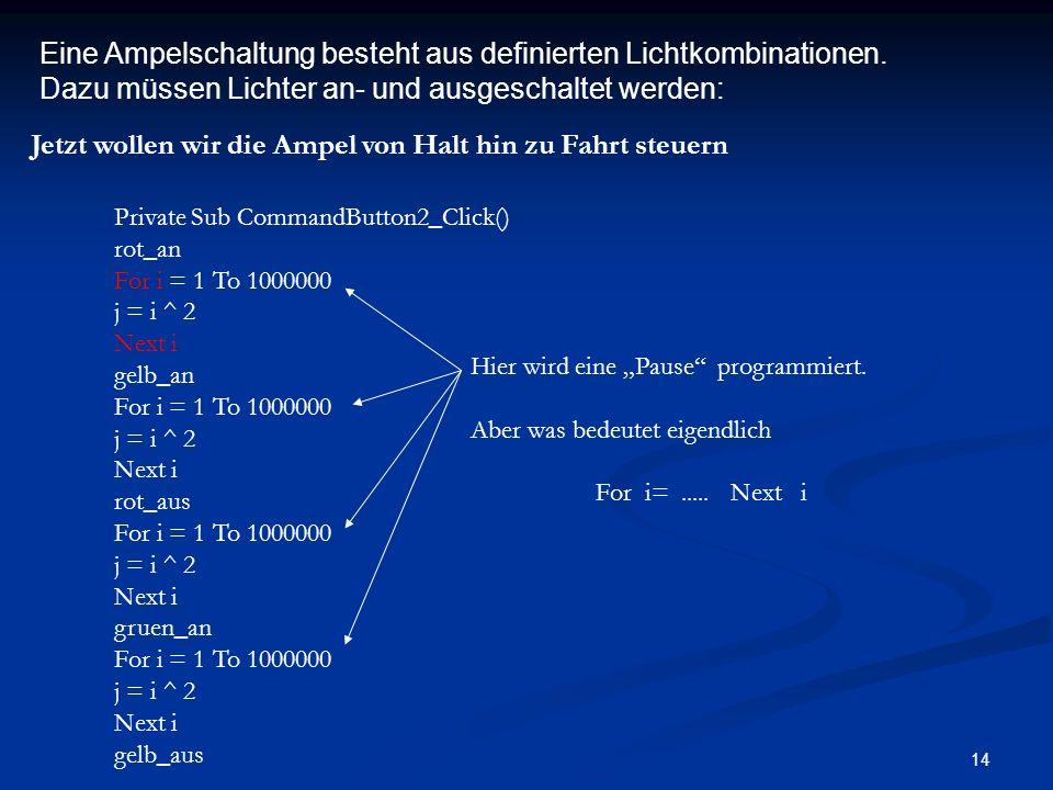 14 Eine Ampelschaltung besteht aus definierten Lichtkombinationen.