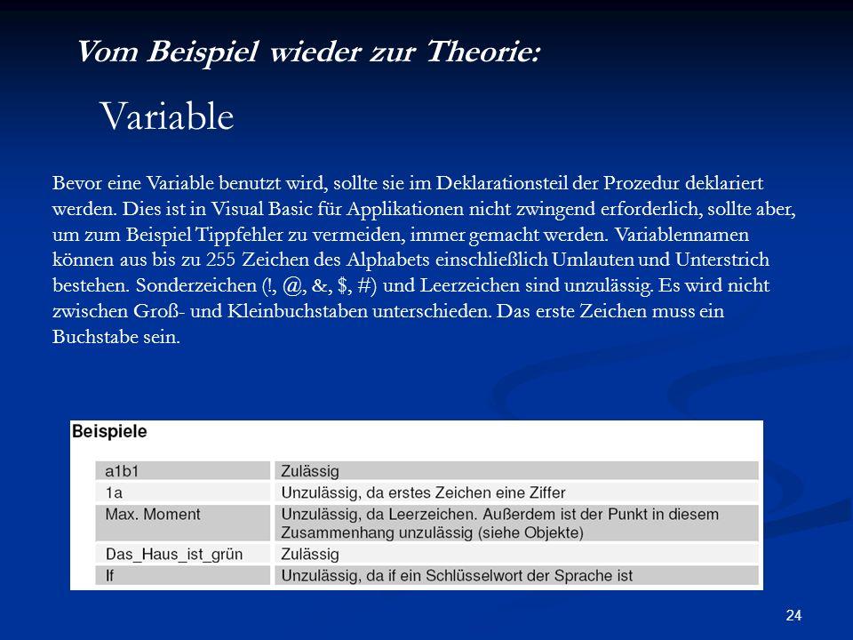 24 Vom Beispiel wieder zur Theorie: Bevor eine Variable benutzt wird, sollte sie im Deklarationsteil der Prozedur deklariert werden.