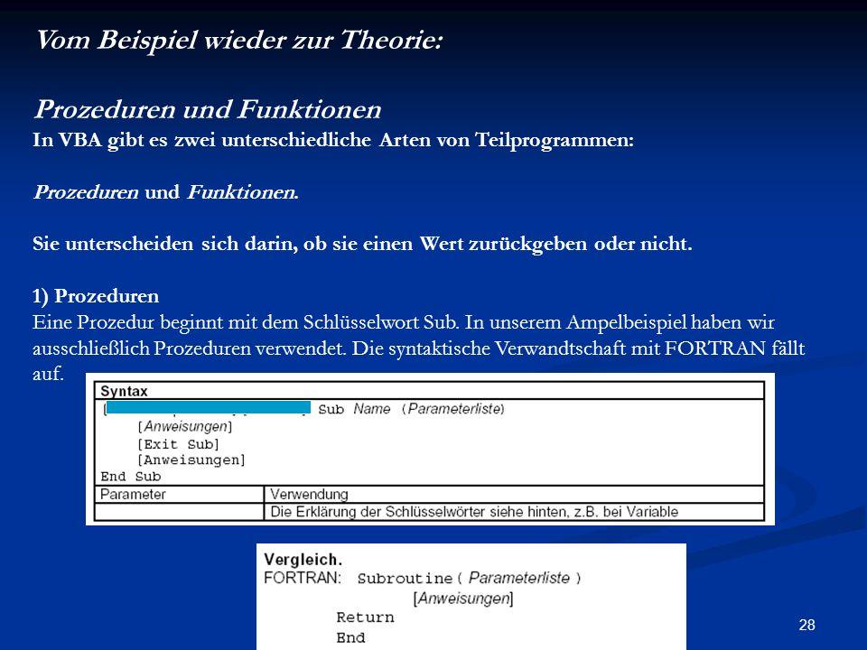 28 Vom Beispiel wieder zur Theorie: Prozeduren und Funktionen In VBA gibt es zwei unterschiedliche Arten von Teilprogrammen: Prozeduren und Funktionen.