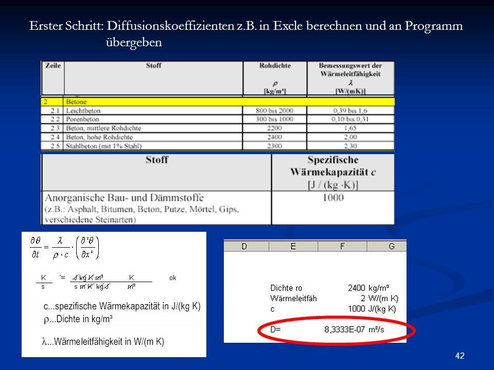 42 Erster Schritt: Diffusionskoeffizienten z.B. in Excle berechnen und an Programm übergeben