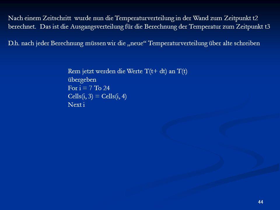 44 Nach einem Zeitschritt wurde nun die Temperaturverteilung in der Wand zum Zeitpunkt t2 berechnet.