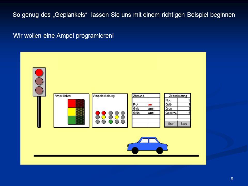 9 So genug des Geplänkels lassen Sie uns mit einem richtigen Beispiel beginnen Wir wollen eine Ampel programieren!
