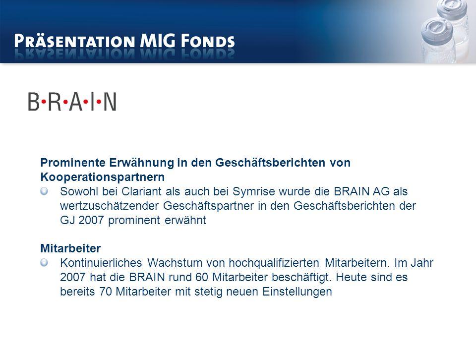 Prominente Erwähnung in den Geschäftsberichten von Kooperationspartnern Sowohl bei Clariant als auch bei Symrise wurde die BRAIN AG als wertzuschätzender Geschäftspartner in den Geschäftsberichten der GJ 2007 prominent erwähnt Mitarbeiter Kontinuierliches Wachstum von hochqualifizierten Mitarbeitern.
