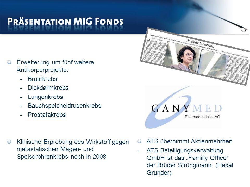ATS übernimmt Aktienmehrheit -ATS Beteiligungsverwaltung GmbH ist das Familiy Office der Brüder Strüngmann (Hexal Gründer) Erweiterung um fünf weitere Antikörperprojekte: -Brustkrebs -Dickdarmkrebs -Lungenkrebs -Bauchspeicheldrüsenkrebs -Prostatakrebs Klinische Erprobung des Wirkstoff gegen metastatischen Magen- und Speiseröhrenkrebs noch in 2008