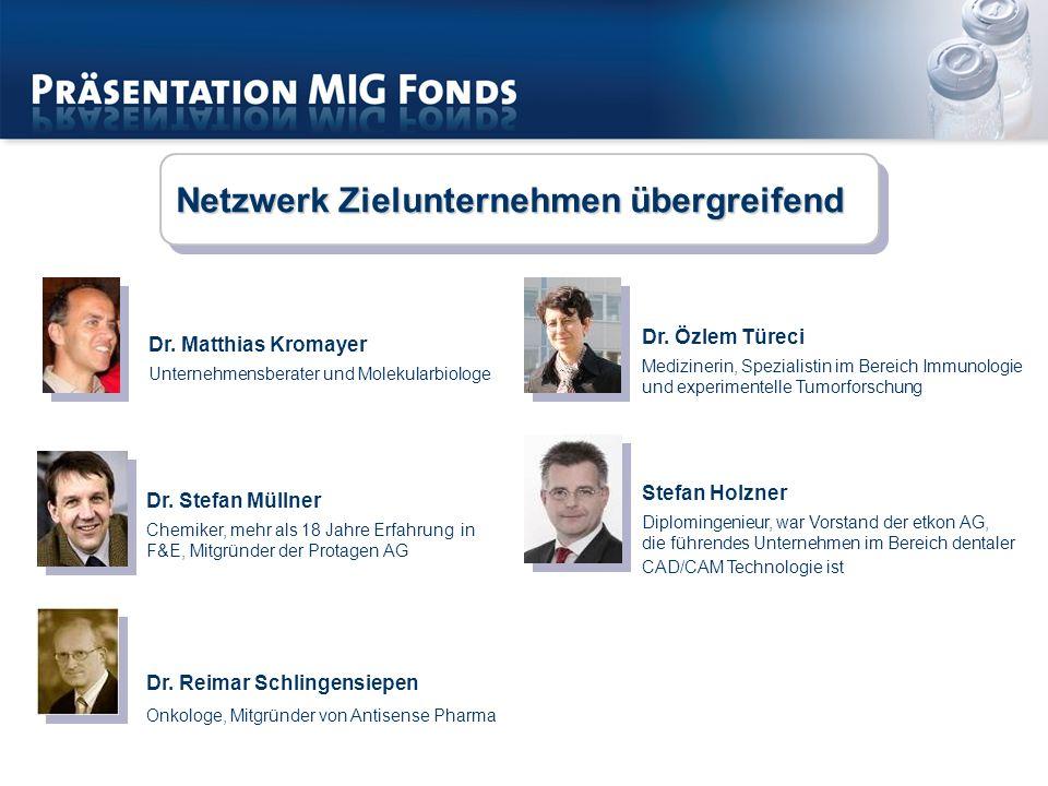 Dr. Özlem Türeci Medizinerin, Spezialistin im Bereich Immunologie und experimentelle Tumorforschung Dr. Matthias Kromayer Unternehmensberater und Mole