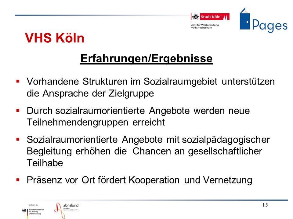 15 VHS Köln Erfahrungen/Ergebnisse Vorhandene Strukturen im Sozialraumgebiet unterstützen die Ansprache der Zielgruppe Durch sozialraumorientierte Ang