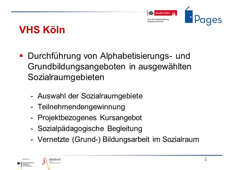 2 VHS Köln Durchführung von Alphabetisierungs- und Grundbildungsangeboten in ausgewählten Sozialraumgebieten -Auswahl der Sozialraumgebiete -Teilnehme