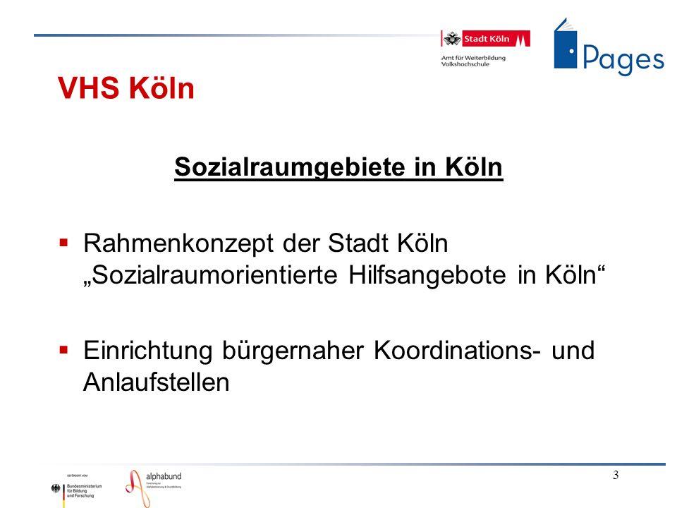3 VHS Köln Sozialraumgebiete in Köln Rahmenkonzept der Stadt Köln Sozialraumorientierte Hilfsangebote in Köln Einrichtung bürgernaher Koordinations- u