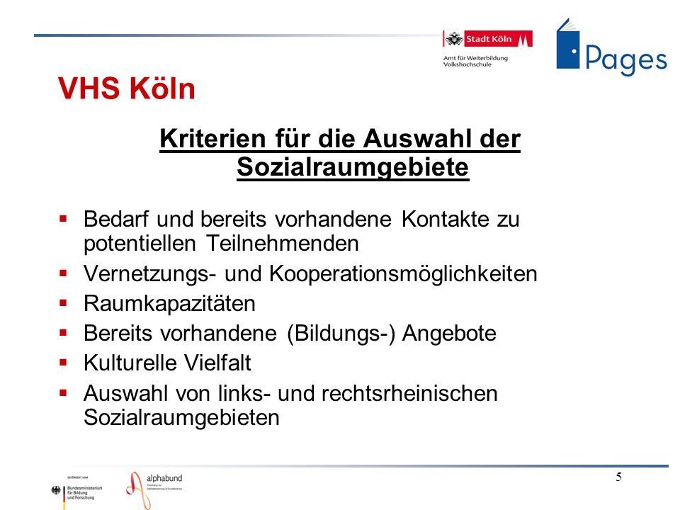 5 VHS Köln Kriterien für die Auswahl der Sozialraumgebiete Bedarf und bereits vorhandene Kontakte zu potentiellen Teilnehmenden Vernetzungs- und Kooperationsmöglichkeiten Raumkapazitäten Bereits vorhandene (Bildungs-) Angebote Kulturelle Vielfalt Auswahl von links- und rechtsrheinischen Sozialraumgebieten