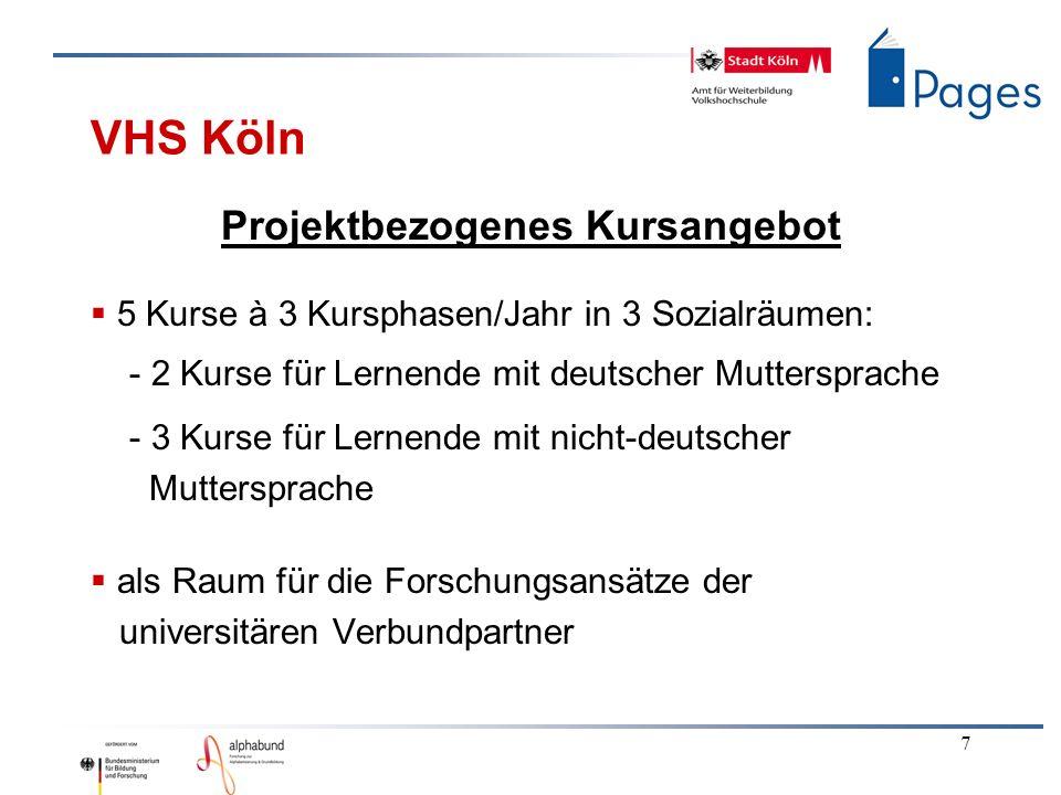 7 VHS Köln Projektbezogenes Kursangebot 5 Kurse à 3 Kursphasen/Jahr in 3 Sozialräumen: - 2 Kurse für Lernende mit deutscher Muttersprache - 3 Kurse für Lernende mit nicht-deutscher Muttersprache als Raum für die Forschungsansätze der universitären Verbundpartner