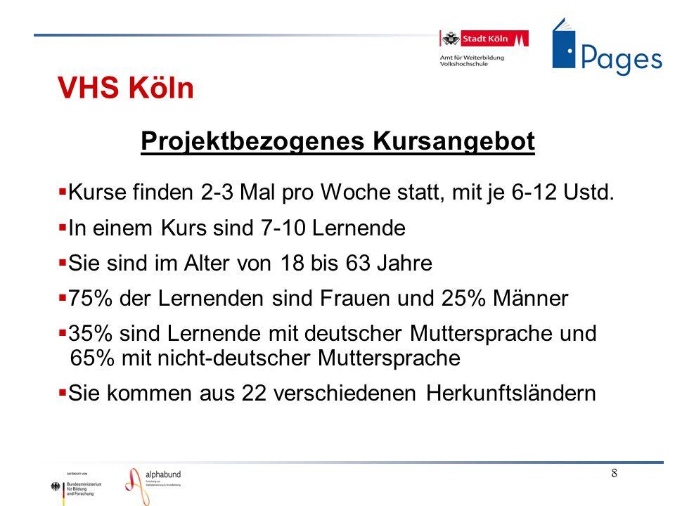 8 VHS Köln Projektbezogenes Kursangebot Kurse finden 2-3 Mal pro Woche statt, mit je 6-12 Ustd. In einem Kurs sind 7-10 Lernende Sie sind im Alter von