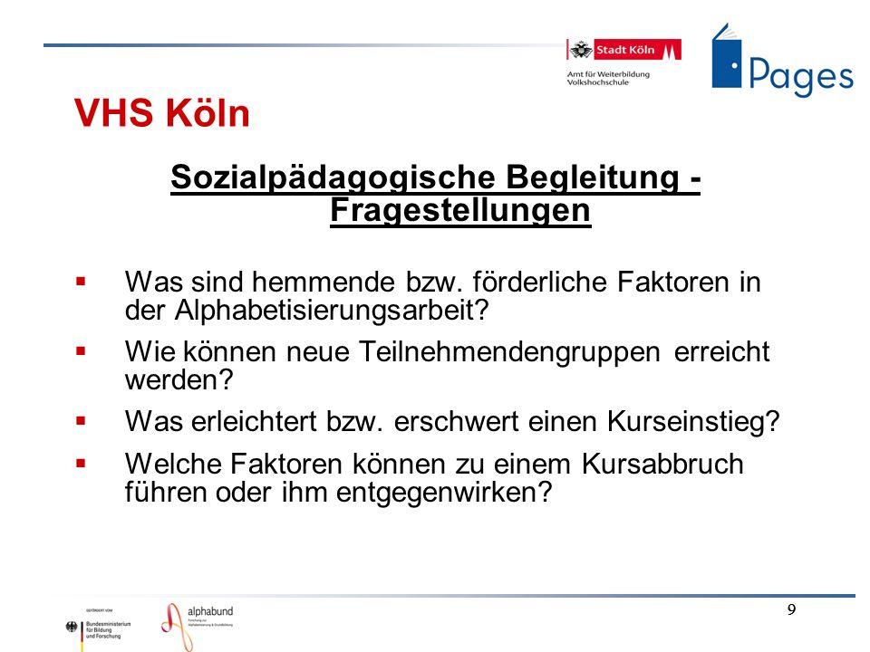 9 9 9 VHS Köln Sozialpädagogische Begleitung - Fragestellungen Was sind hemmende bzw. förderliche Faktoren in der Alphabetisierungsarbeit? Wie können