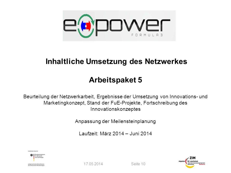 Inhaltliche Umsetzung des Netzwerkes Arbeitspaket 5 Beurteilung der Netzwerkarbeit, Ergebnisse der Umsetzung von Innovations- und Marketingkonzept, St