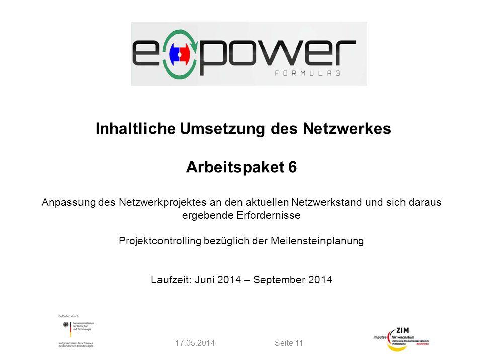 Inhaltliche Umsetzung des Netzwerkes Arbeitspaket 6 Anpassung des Netzwerkprojektes an den aktuellen Netzwerkstand und sich daraus ergebende Erfordernisse Projektcontrolling bezüglich der Meilensteinplanung Laufzeit: Juni 2014 – September 2014 17.05.2014Seite 11