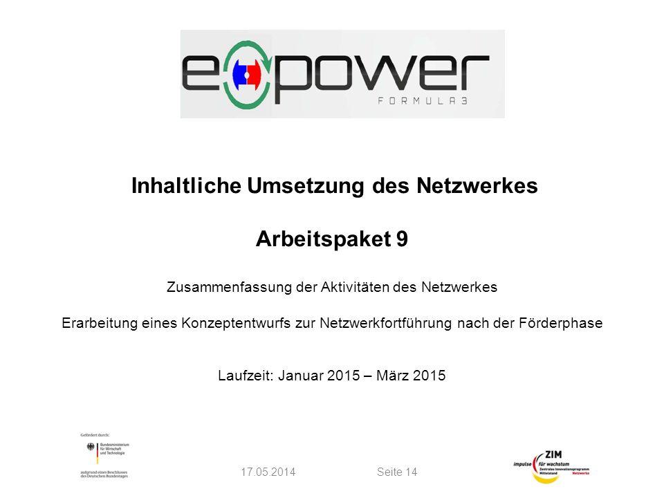 Inhaltliche Umsetzung des Netzwerkes Arbeitspaket 9 Zusammenfassung der Aktivitäten des Netzwerkes Erarbeitung eines Konzeptentwurfs zur Netzwerkfortführung nach der Förderphase Laufzeit: Januar 2015 – März 2015 17.05.2014Seite 14