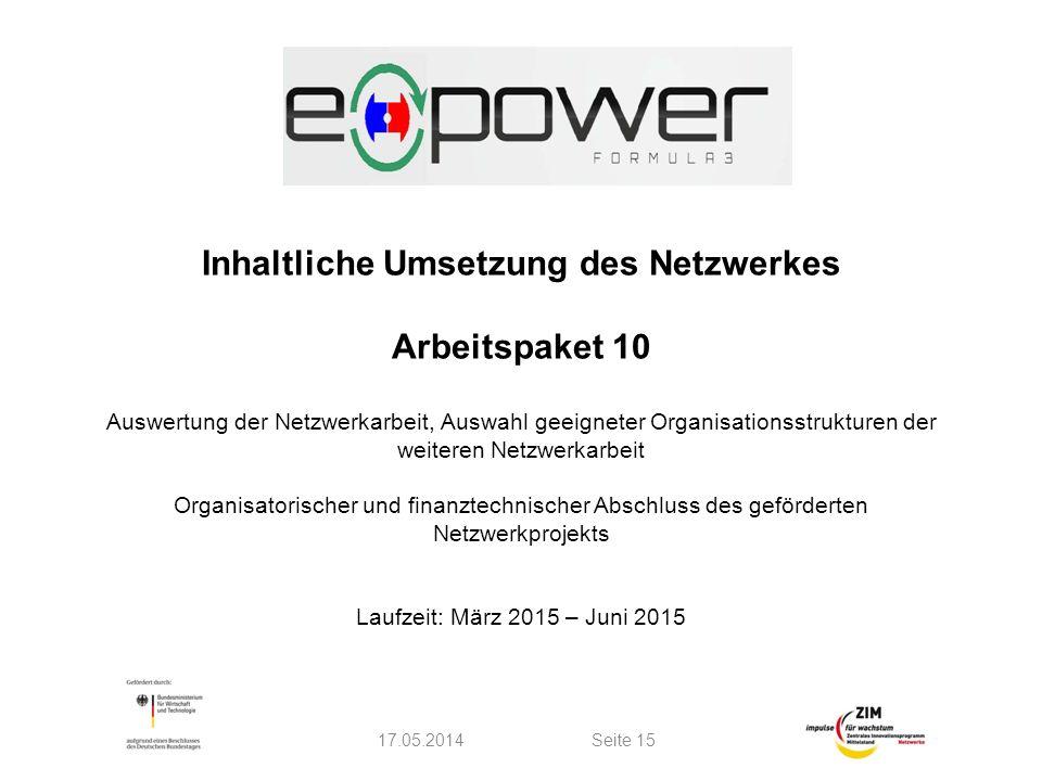Inhaltliche Umsetzung des Netzwerkes Arbeitspaket 10 Auswertung der Netzwerkarbeit, Auswahl geeigneter Organisationsstrukturen der weiteren Netzwerkar