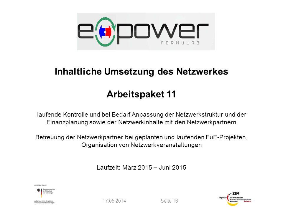 Inhaltliche Umsetzung des Netzwerkes Arbeitspaket 11 laufende Kontrolle und bei Bedarf Anpassung der Netzwerkstruktur und der Finanzplanung sowie der