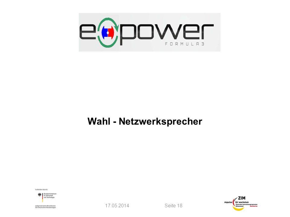 Wahl - Netzwerksprecher 17.05.2014Seite 18