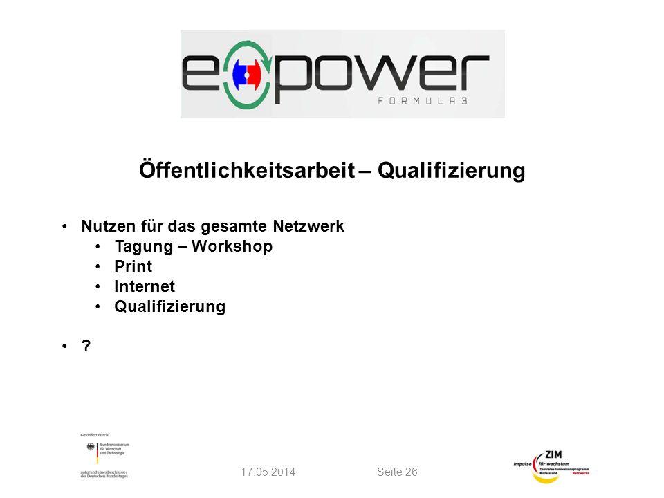 17.05.2014Seite 26 Öffentlichkeitsarbeit – Qualifizierung Nutzen für das gesamte Netzwerk Tagung – Workshop Print Internet Qualifizierung ?