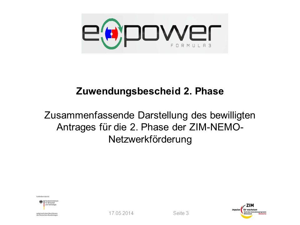 Zuwendungsbescheid 2. Phase Zusammenfassende Darstellung des bewilligten Antrages für die 2. Phase der ZIM-NEMO- Netzwerkförderung 17.05.2014Seite 3