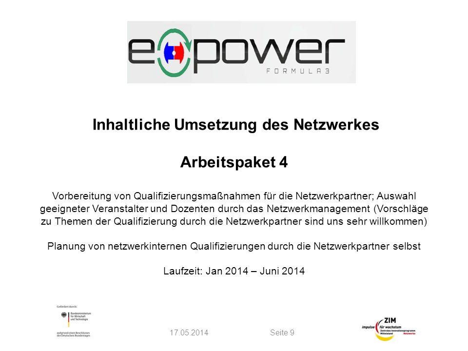 Inhaltliche Umsetzung des Netzwerkes Arbeitspaket 4 Vorbereitung von Qualifizierungsmaßnahmen für die Netzwerkpartner; Auswahl geeigneter Veranstalter
