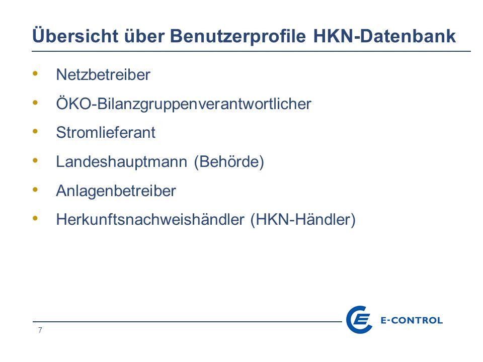 7 Übersicht über Benutzerprofile HKN-Datenbank Netzbetreiber ÖKO-Bilanzgruppenverantwortlicher Stromlieferant Landeshauptmann (Behörde) Anlagenbetreiber Herkunftsnachweishändler (HKN-Händler)