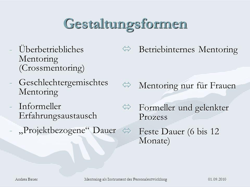 Andrea Bauer Mentoring als Instrument der Personalentwicklung 01.09.2010 Gestaltungsformen -Überbetriebliches Mentoring (Crossmentoring) -Geschlechter