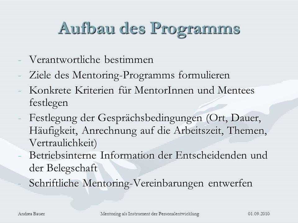Andrea Bauer Mentoring als Instrument der Personalentwicklung 01.09.2010 Aufbau des Programms -Verantwortliche bestimmen -Ziele des Mentoring-Programm