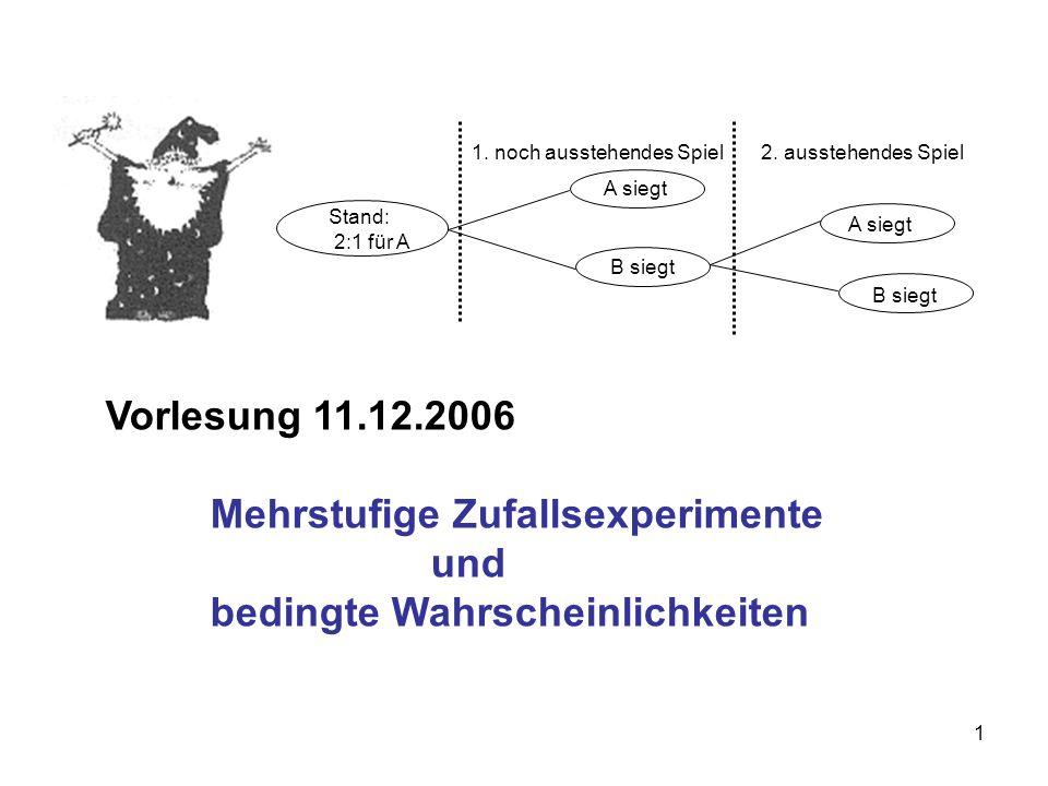 22 Berechnung der Wahrscheinlichkeit P(E) : P(E) = = = 0,15673 Wir benutzen zur Berechnung der Wahrscheinlichkeit P(E) die Pfadregel und das Additivitätsaxiom.