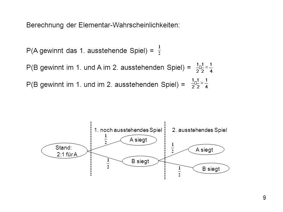 30 Definition bedingte Wahrscheinlichkeit: Gegeben: Zufälliger Versuch mit dem Ergebnisraum und dem Wahrscheinlichkeitsmaß P Sei F ein Ereignis mit P(F) 0.