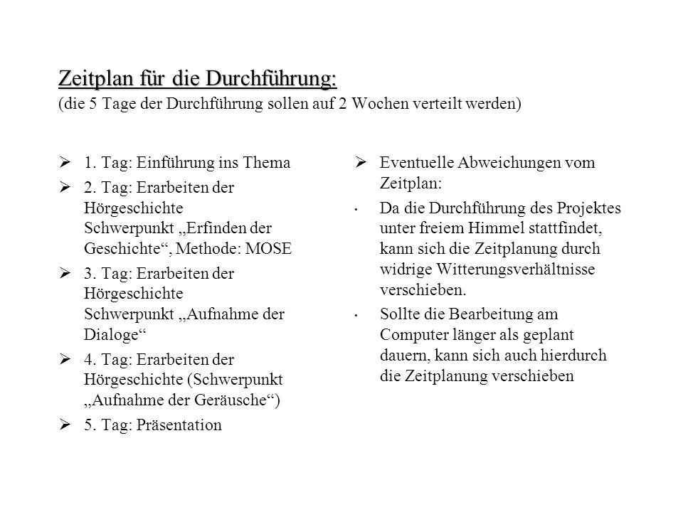 Zeitplan für die Durchführung: Zeitplan für die Durchführung: (die 5 Tage der Durchführung sollen auf 2 Wochen verteilt werden) 1. Tag: Einführung ins